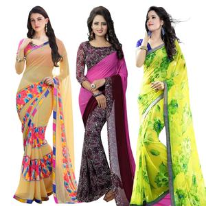 Engrossing Casual Printed Georgette Saree - Pack of 3