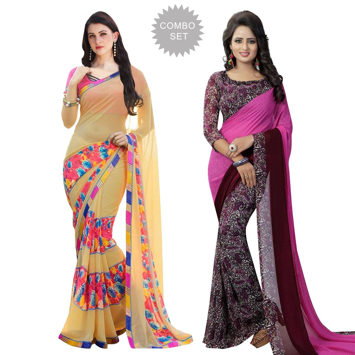 Captivating Casual Printed Georgette Saree - Pack of 2