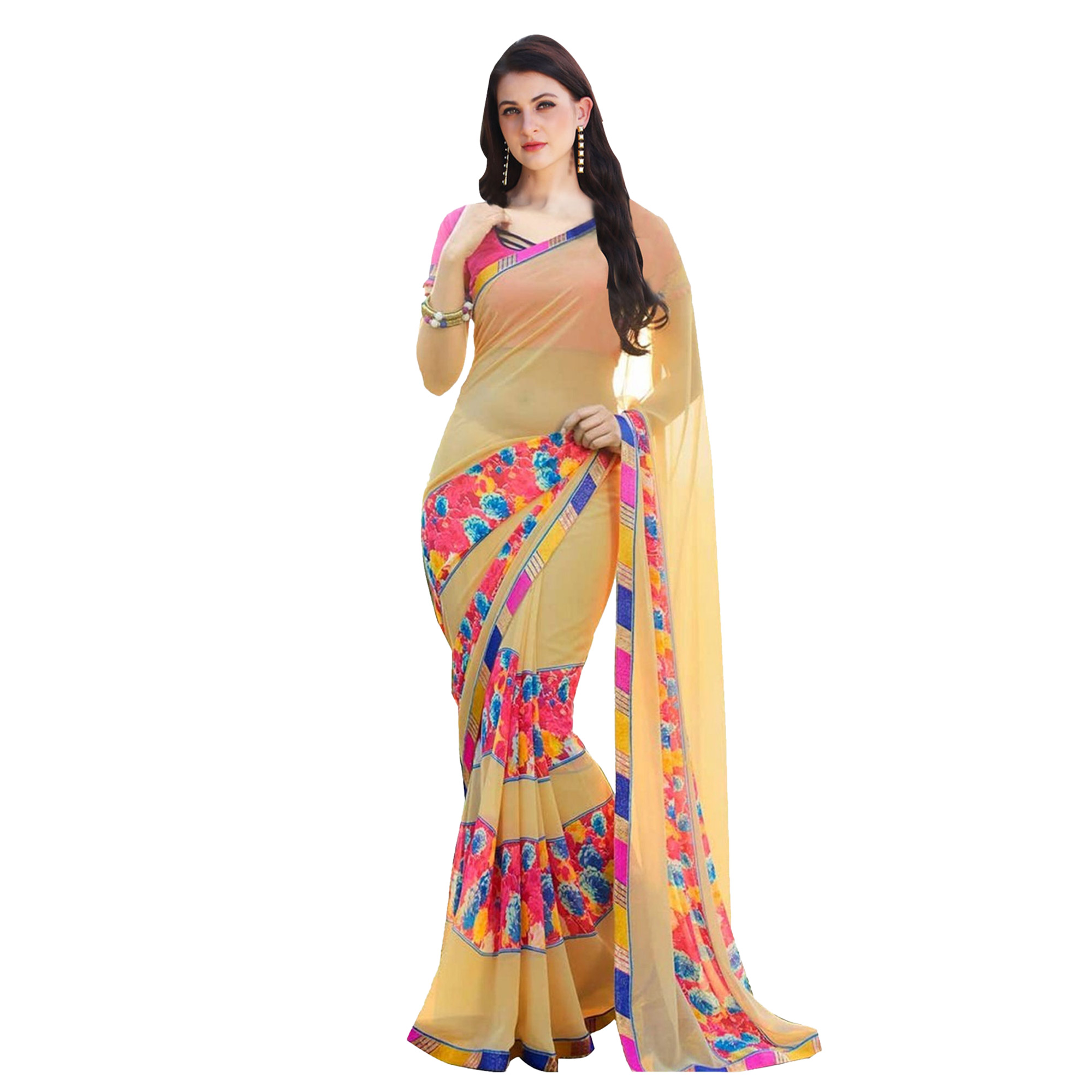 Innovative Casual Printed Georgette Saree - Pack of 2