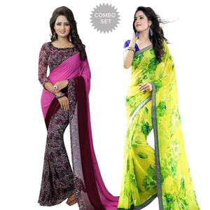 Eye-catching Casual Printed Georgette Saree - Pack of 2