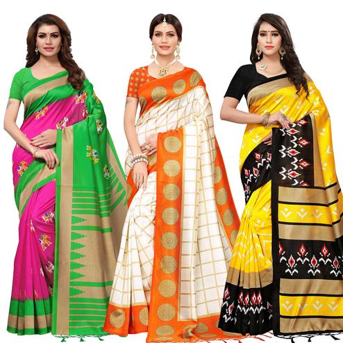 Attractive Casual Printed Mysore Silk Saree - Pack of 3