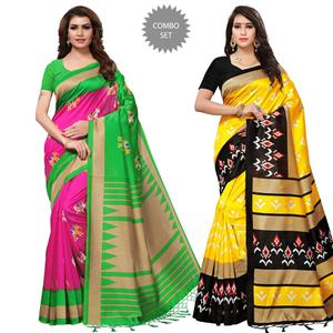 Glorious Casual Printed Mysore Silk Saree - Pack of 2