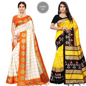 Adorable Casual Printed Mysore Silk Saree - Pack of 2