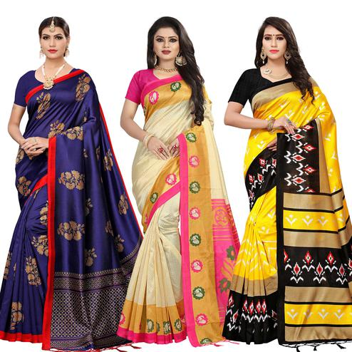 Elegant Festive Wear Printed Art Silk-Mysore Silk Saree - Pack of 3