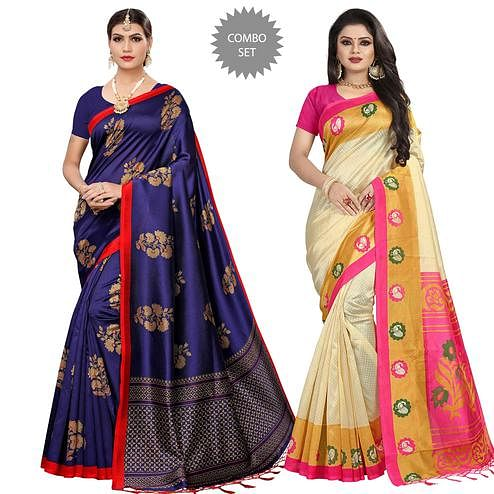 Pleasant Festive Wear Printed Art Silk-Mysore Silk Saree - Pack of 2