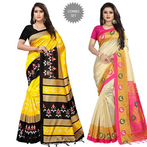 Opulent Festive Wear Printed Mysore Silk Saree - Pack of 2