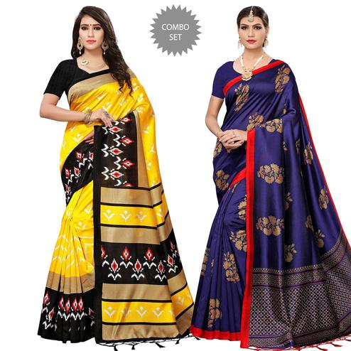 Radiant Festive Wear Printed Mysore Silk-Art Silk Saree - Pack of 2