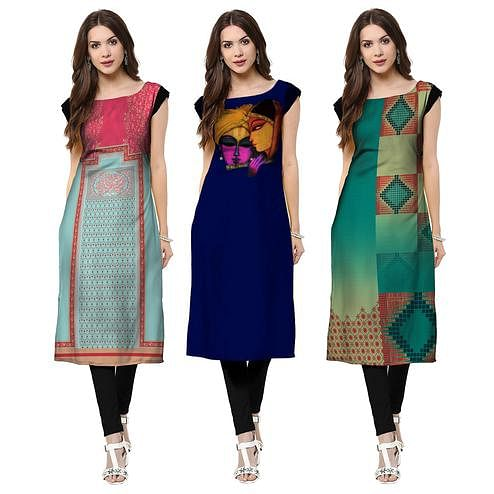 Appealing Casual Printed Crepe Kurti - Pack of 3