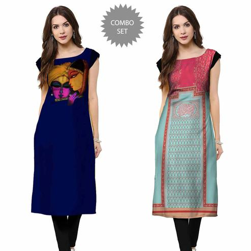 Capricious Casual Printed Crepe Kurti - Pack of 2