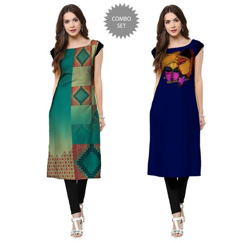 Entrancing Casual Printed Crepe Kurti - Pack of 2