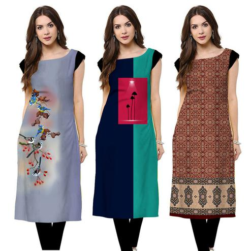 Blooming Casual Printed Crepe Kurti - Pack of 3
