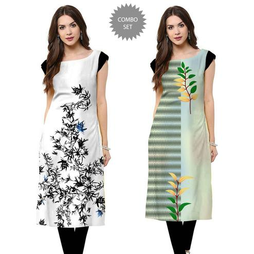 Innovative Casual Printed Crepe Kurti - Pack of 2