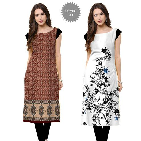 Eye-catching Casual Printed Crepe Kurti - Pack of 2