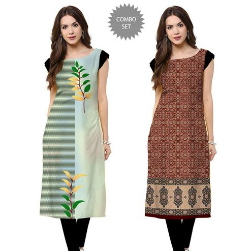 Fantastic Casual Printed Crepe Kurti - Pack of 2