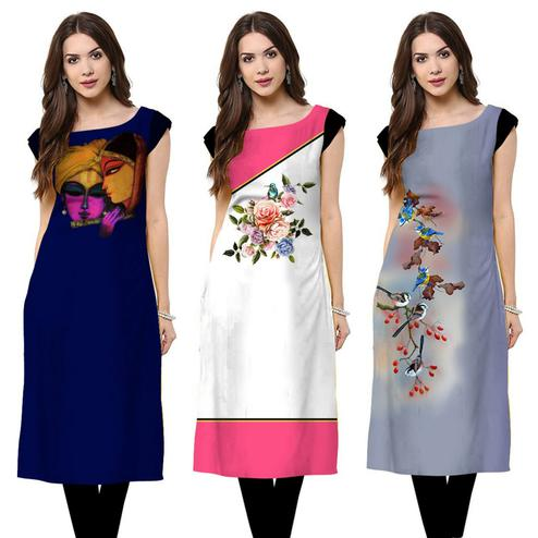 Gorgeous Casual Printed Crepe Kurti - Pack of 3