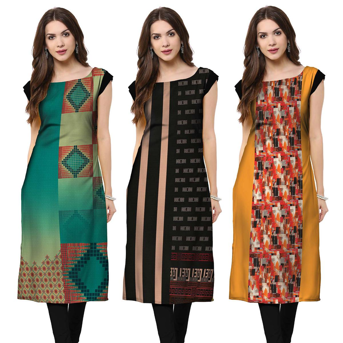 Ethnic Casual Printed Crepe Kurti - Pack of 3