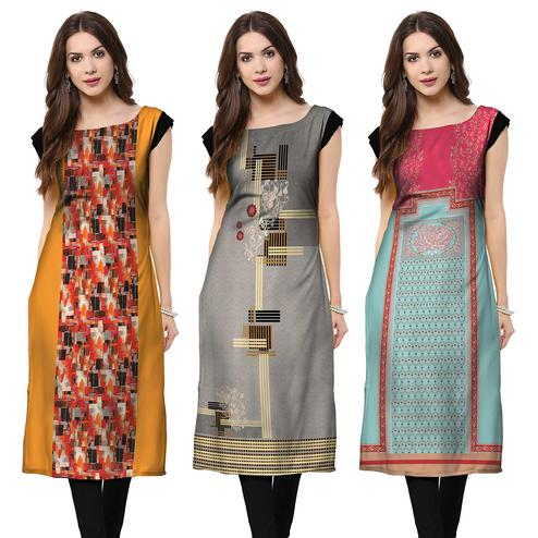 Intricate Casual Printed Crepe Kurti - Pack of 3