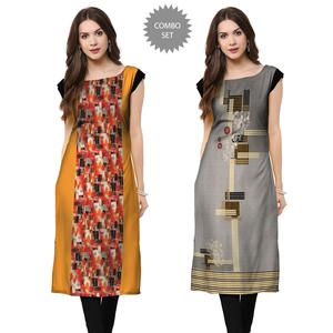 Arresting Casual Printed Crepe Kurti - Pack of 2