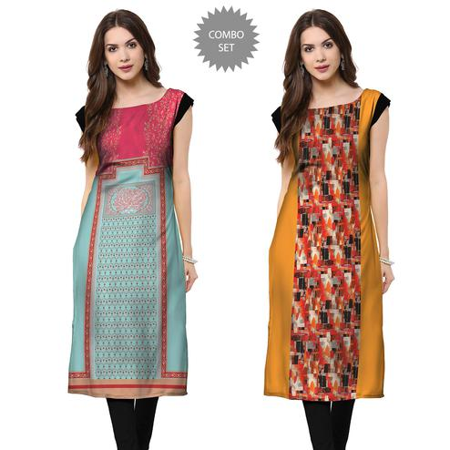 Exotic Casual Printed Crepe Kurti - Pack of 2