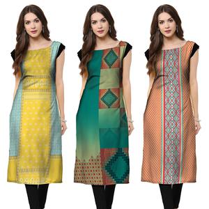 Trendy Casual Printed Crepe Kurti - Pack of 3