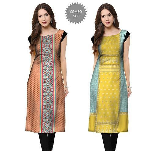 Radiant Casual Printed Crepe Kurti - Pack of 2