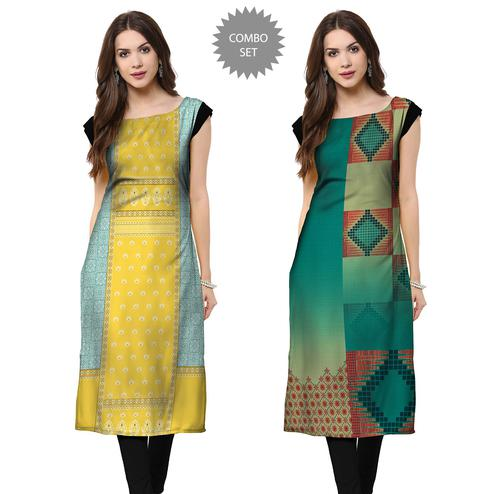 Pleasant Casual Printed Crepe Kurti - Pack of 2