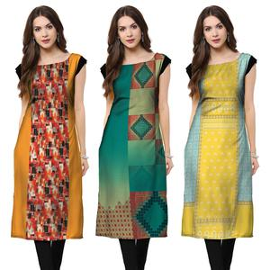Energetic Casual Printed Crepe Kurti - Pack of 3