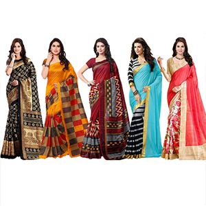 Pack of 5 Causal Wear Printed Saree