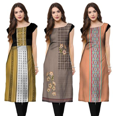 Flattering Casual Printed Crepe Kurti - Pack of 3