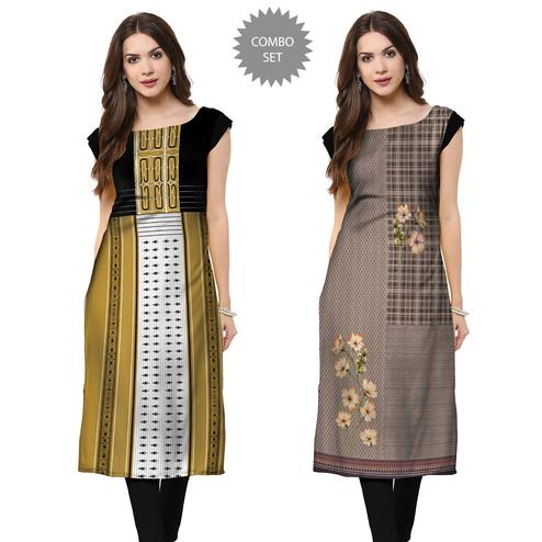Preferable Casual Printed Crepe Kurti - Pack of 2