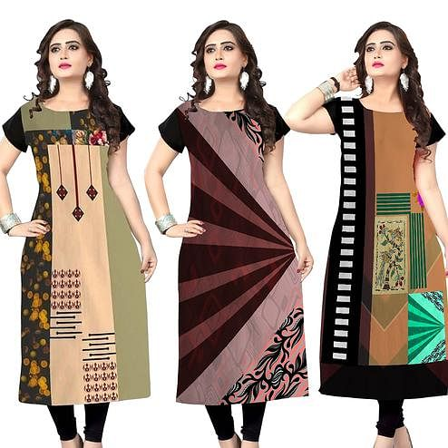 Pretty Casual Printed Crepe Kurti - Pack of 3