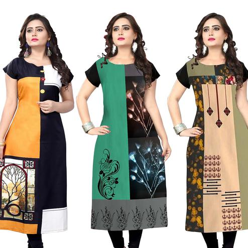 Flirty Casual Printed Crepe Kurti - Pack of 3