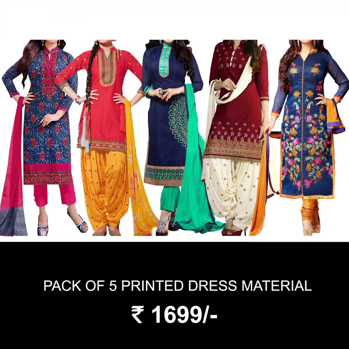 558b7dc5d4 Buy Pack of 5 Printed Dress Material for womens online India, Best Prices,  Reviews - Peachmode