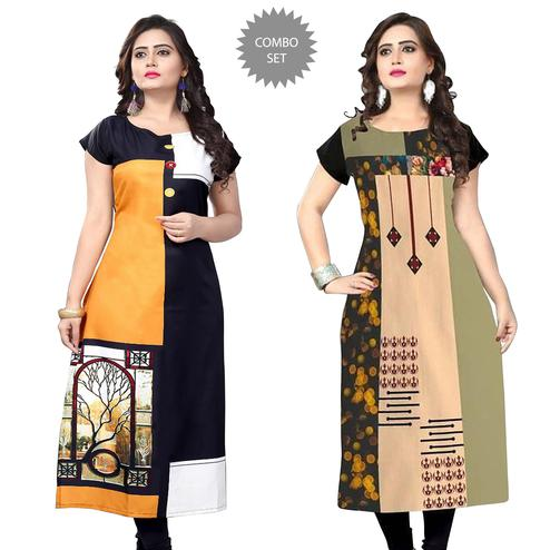Appealing Casual Printed Crepe Kurti - Pack of 2