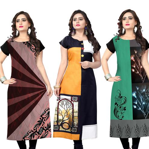 Entrancing Casual Printed Crepe Kurti - Pack of 3