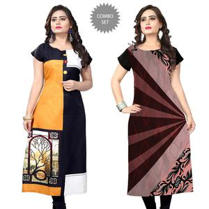 Groovy Casual Printed Crepe Kurti - Pack of 2