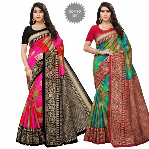 Demanding Festive Wear Printed Bhagalpuri Silk Saree - Pack of 2