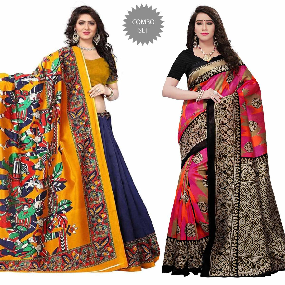 Gleaming Festive-Casual Wear Printed Mysore Silk-Art Silk Saree - Pack of 2