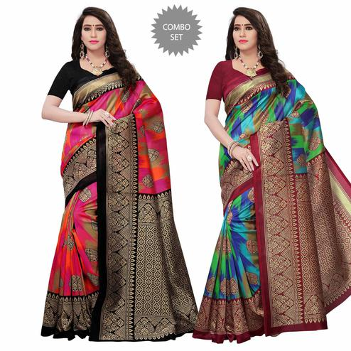 Mesmeric Festive Wear Woven Mysore Silk Saree - Pack of 2