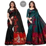 Unique Casual Wear Printed Khadi Silk Saree - Pack of 2