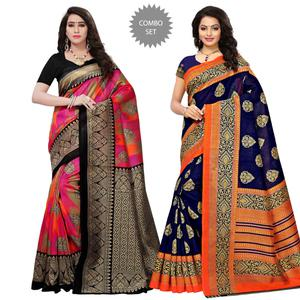 Hypnotic Festive Wear Printed Art Silk-Bhagalpuri Silk Saree - Pack of 2