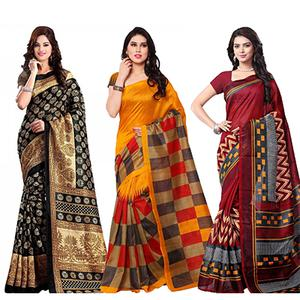 Black - Orange - Maroon Casual Wear Saree (Pack of 3)