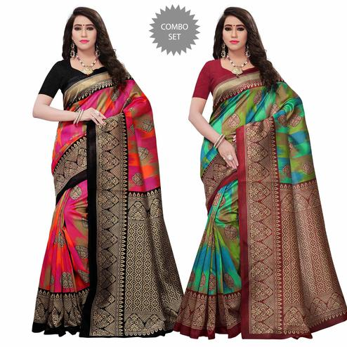 Classy Festive Wear Art Silk Saree - Pack of 2
