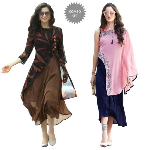 Trendy Designer Partywear Georgette Kurti - Pack of 2