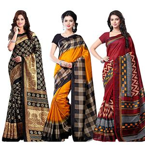 Black - Orange - Maroon Printed Saree (Pack of 3)