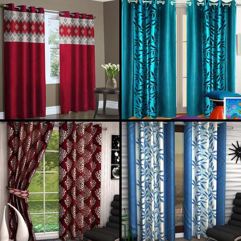 Innovative Multicolored Printed Curtain - Pack Of 4