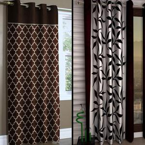Majesty Brown-White Colored Printed Curtain - Pack Of 2