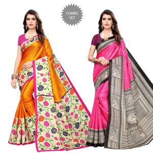 Excellent Casual Wear Printed Art Silk Saree - Pack of 2