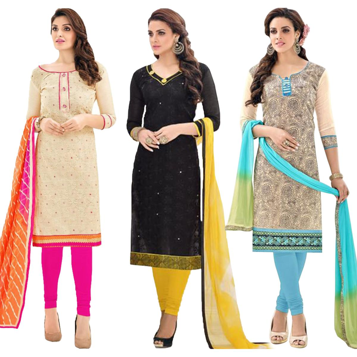 0011aced7a Buy Pack of 3 Chanderi Dress Material for womens online India, Best Prices,  Reviews - Peachmode