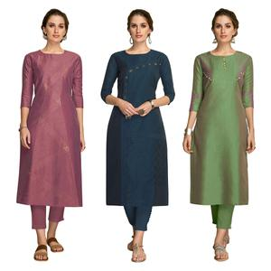 Excellent Partywear Embroidered Viscose Kurti - Pack of 3
